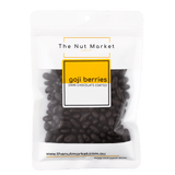 Dark Chocolate Coated Goji Berries in 180g Nut Market packet.