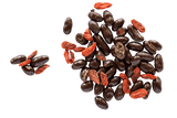 Scattering of Dark Chocolate Coated Goji Berries and raw Goji Berries.