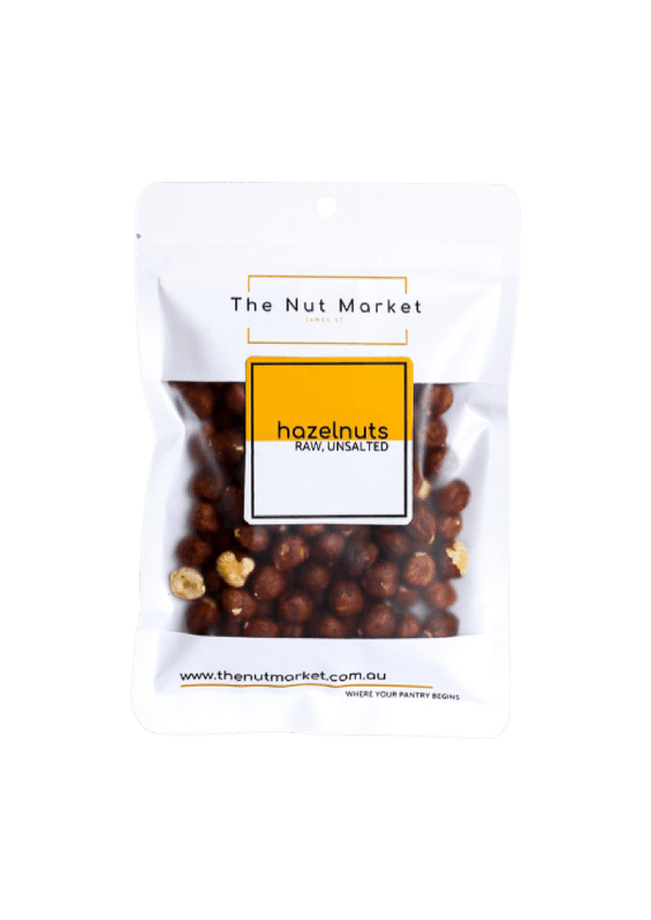 Raw Hazelnuts in 150g Nut Market bag.