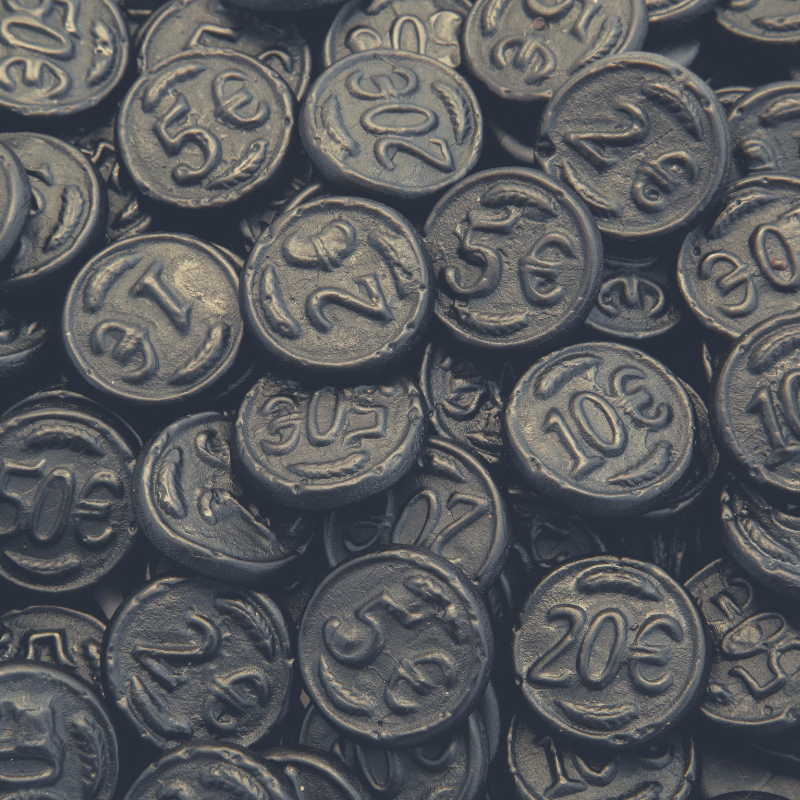 Close up of bulk Dutch Licorice Coins.