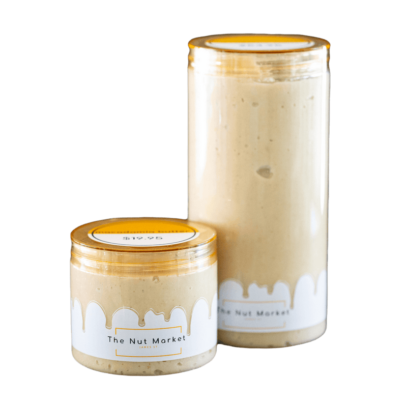 Macadamia Butter in 270g and 800g Nut Market jars.