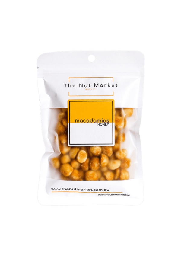 Honey Roasted Macadamias in 150g Nut Market bag.