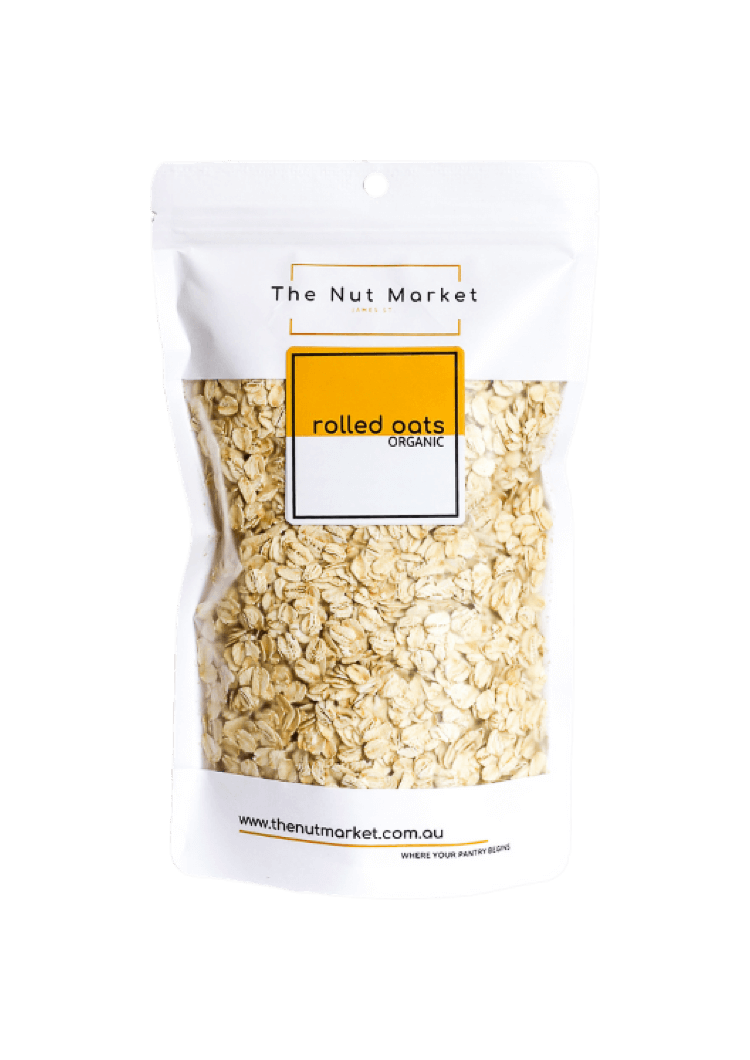 Rolled Oats Organic in 350g Nut Market bag.
