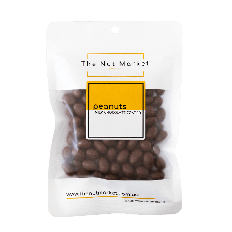 Dark Chocolate Peanuts in 200g Nut Market Packet.