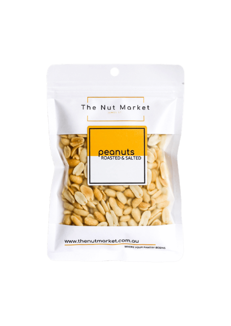 Peanuts Roasted and Salted in 200g Nut Market bag.