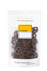 Milk Chocolate Pretzels in 200g Nut Market Packet.