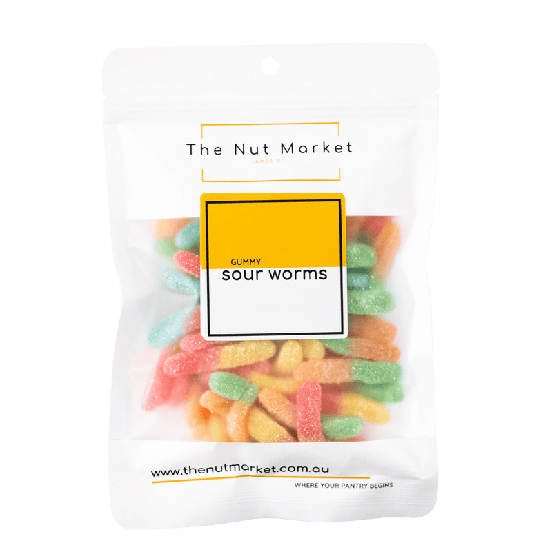 Sour Gummy Worms in 200g Nut Market packet.