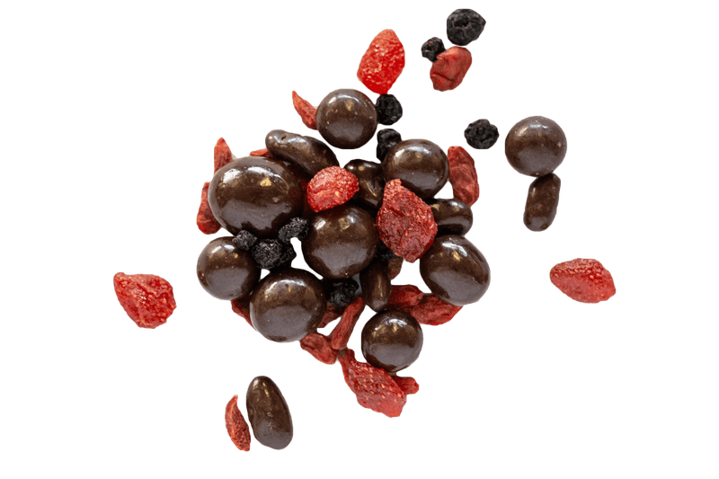 Cluster of Dark Chocolate Superberries with dried strawberries, goji berries and blueberries.