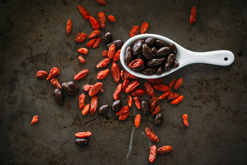 Dark Chocolate Coated and raw Goji Berries scattered across dark background, with white ceramic spoon full of Chocolate Goji Berries.