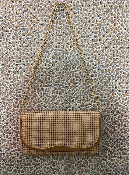 0850 - Vintage Glomesh bone shoulder/clutch bag