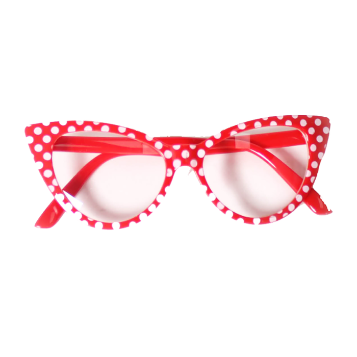 50s Polka Dot Glasses - Red