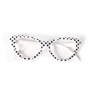 50's Polka Dot Glasses - White