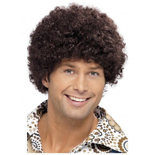 Disco Dude afro Wig - Brown