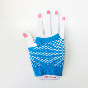 Aqua Blue Fishnet Gloves Short