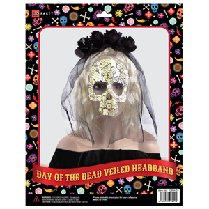 Day Of The Dead Veiled Rose Headband (Black)