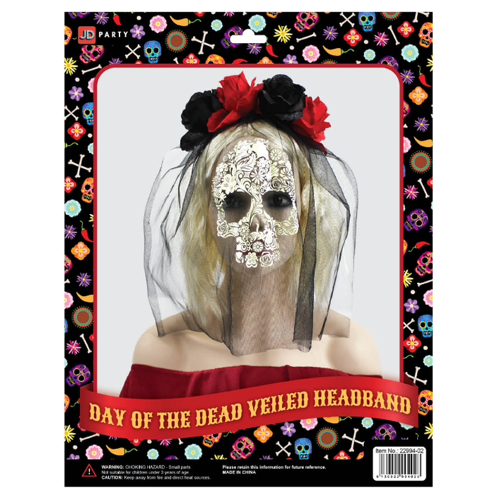 Day Of The Dead Veiled Rose Headband (Black and Red)