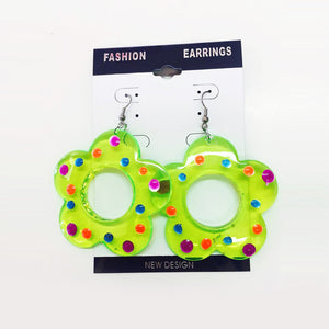 Earrings - Green Flower
