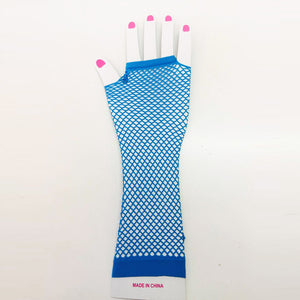 Blue Fishnet Gloves Long