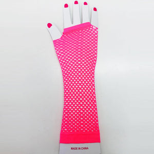 Hot Pink Fishnet Gloves Long