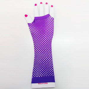 Purple Fishnet Gloves Long