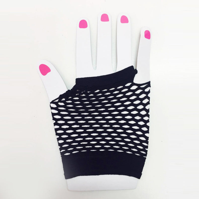 Black Fishnet Gloves Short