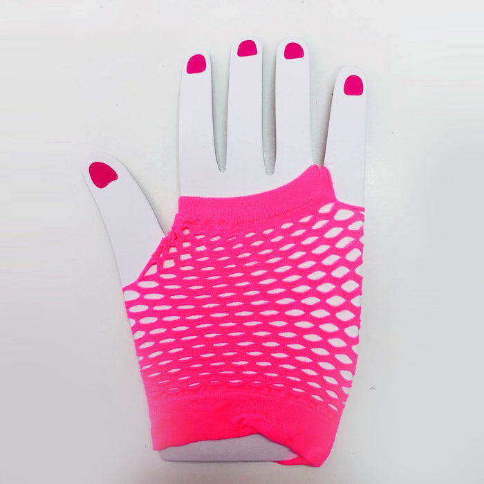 Fluro Pink Fishnet  Gloves (Short)