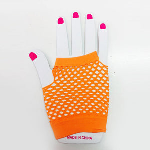 Orange Fishnet Gloves Short