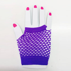 Purple  Fishnet Gloves Short