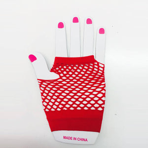 Red Fishnet Gloves Short
