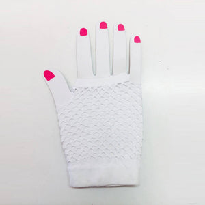 White Fishnet Gloves Short