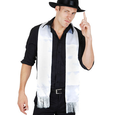 White Gangster Scarf with Fringe