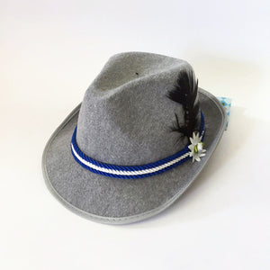 German Oktoberfest  Fedora Blue Trim Hat