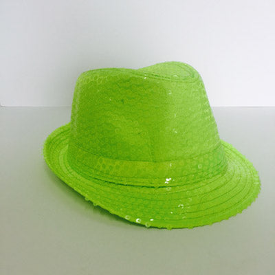 Neon Lime Sequin Fedora Hat