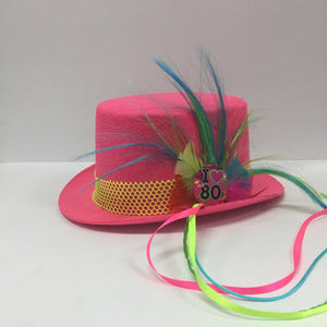 Pink Fluro 80's Top Hat