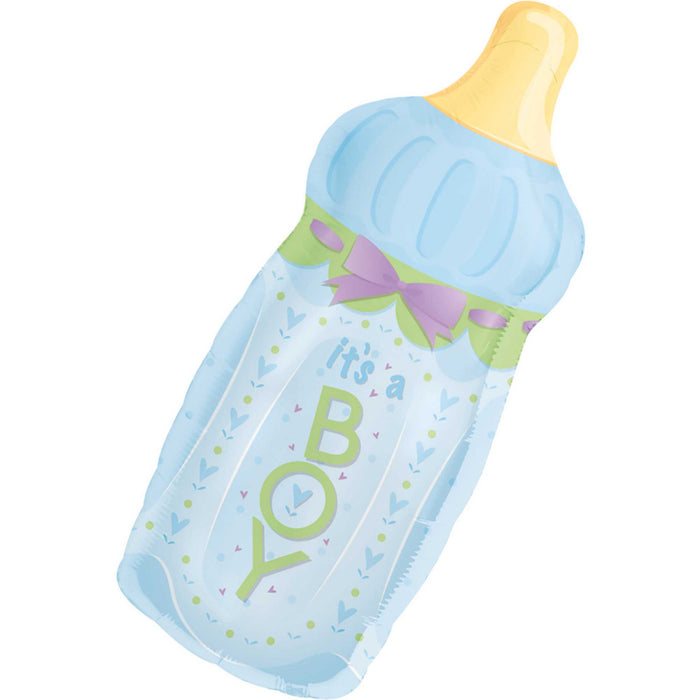 Supershape Its A Boy Baby Bottle Balloon