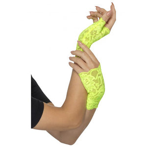 80s Fingerless Gloves, Neon Green