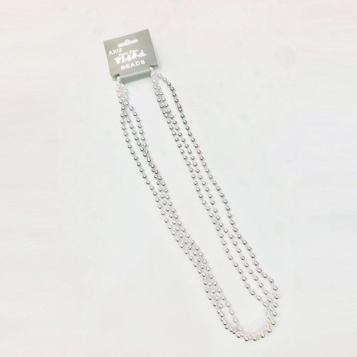 3 Strand Beaded Necklace - Silver