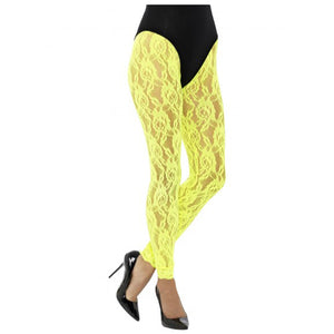 80s Lace Leggings, Neon Yellow