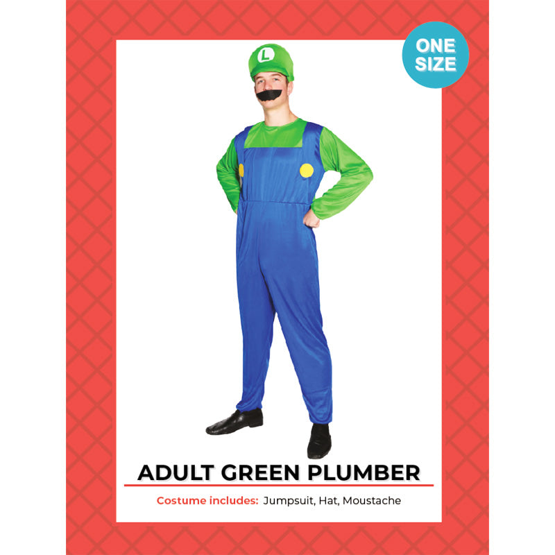 Luigi Adult Green Plumber Costume