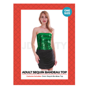 Disco Sequin Bandeau Tube Top Green