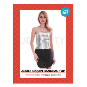 Disco Sequin Bandeau Tube Top Silver