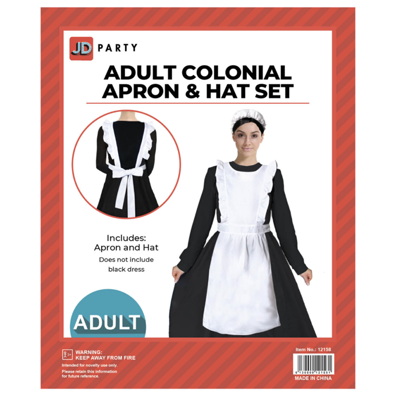 Adult Colonial Apron & Hat