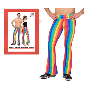 Adult Rainbow Stripe Flare Pants