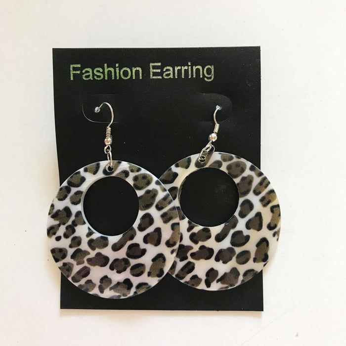 Leopard Print Round Earrings