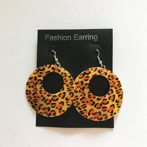 Animal Print Cheetah Brown Round Earrings 3