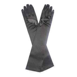 Satin Gloves Black (Long)
