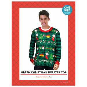 Adult Christmas Sweater Print Top Green