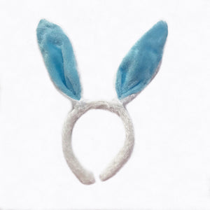 Easter Bunny Ears White Blue