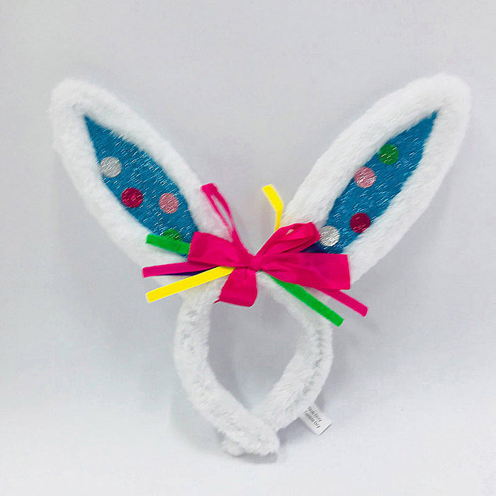 Easter Bunny Ears White Glitter Blue Polka Dots