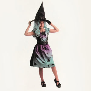 Girls Colourful Witch Costume